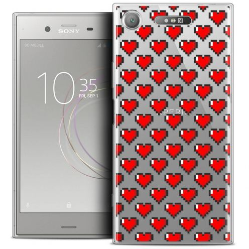 "Coque Crystal Gel Sony Xperia XZ1 (5.2"") Extra Fine Love - Pixel Art"