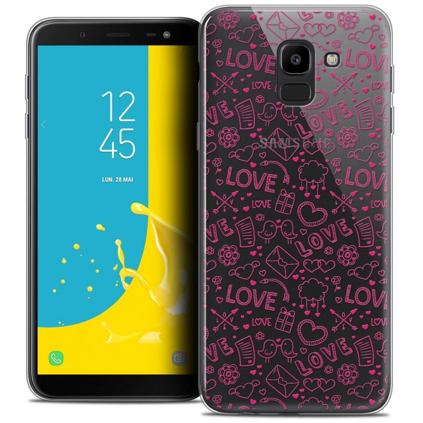 "Coque Crystal Gel Samsung Galaxy J6 2018 J600 (5.6"") Extra Fine Love - Doodle"