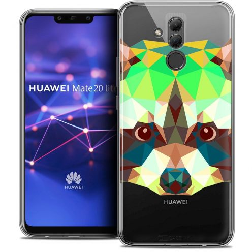 "Coque Crystal Gel Huawei Mate 20 Lite (6.3"") Extra Fine Polygon Animals - Raton Laveur"