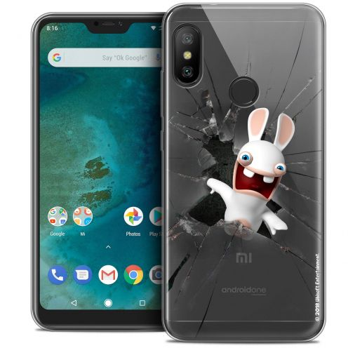 "Crystal Gel Xiaomi Mi A2 LITE (5.8"") Case Lapins Crétins™ Breaking Glass"