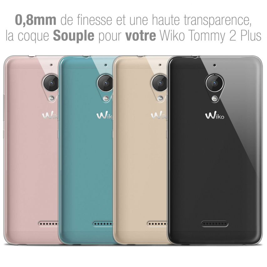 """Extra Slim 1mm Crystal Clear View Flexible Case Wiko Tommy 2 PLUS (5.5"""")"""
