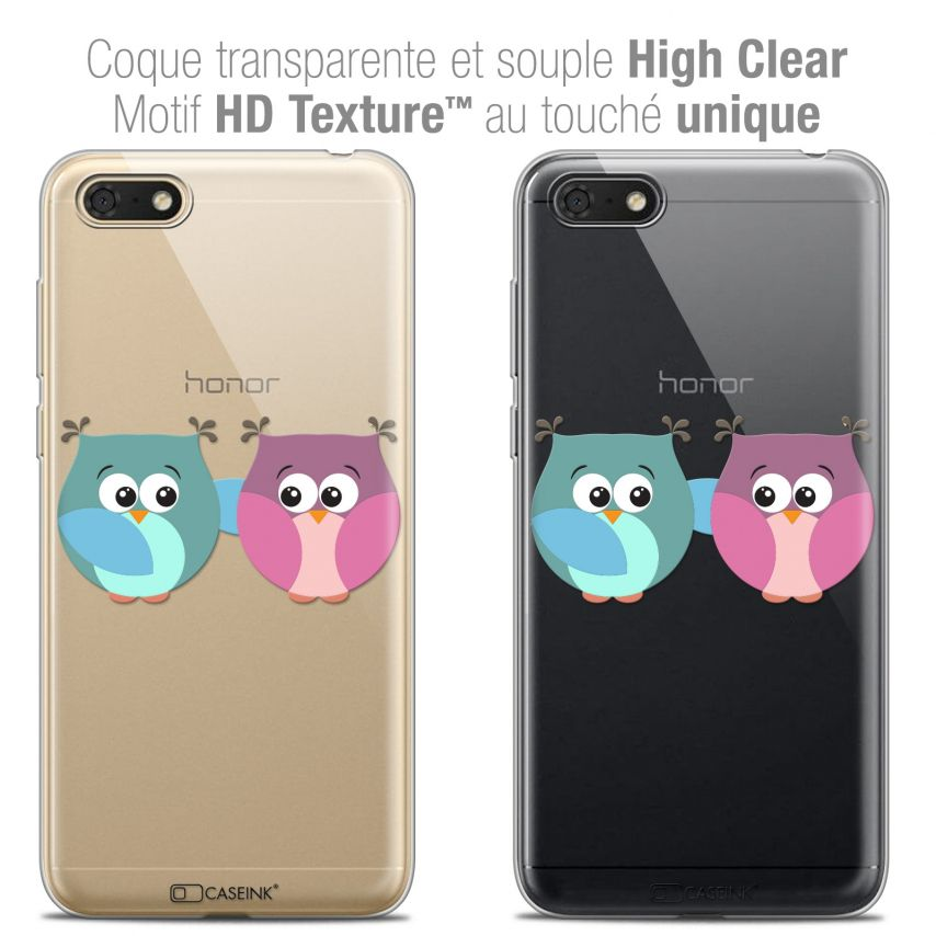 "Extra Slim Crystal Gel Honor 7S (5.45"") Case Love Hibous à deux"