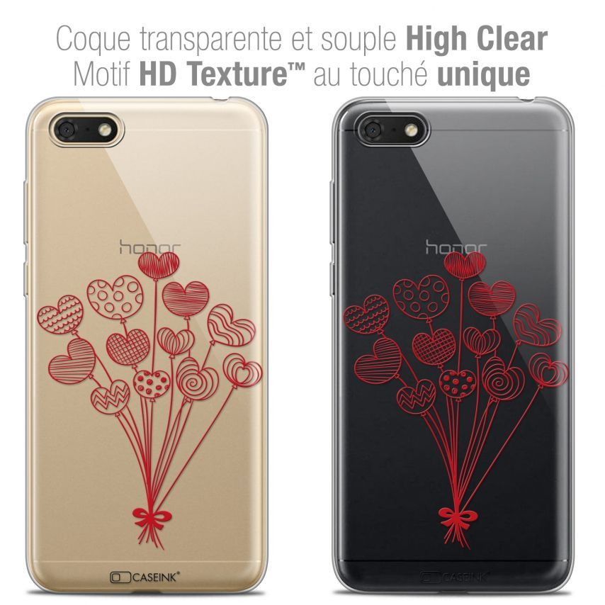 "Coque Crystal Gel Honor 7S (5.45"") Extra Fine Love - Ballons d'amour"