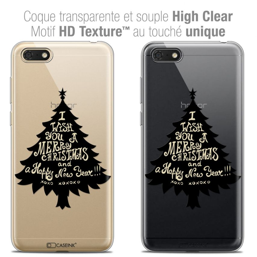 "Extra Slim Crystal Gel Honor 7S (5.45"") Case Noël 2017 XOXO Tree"