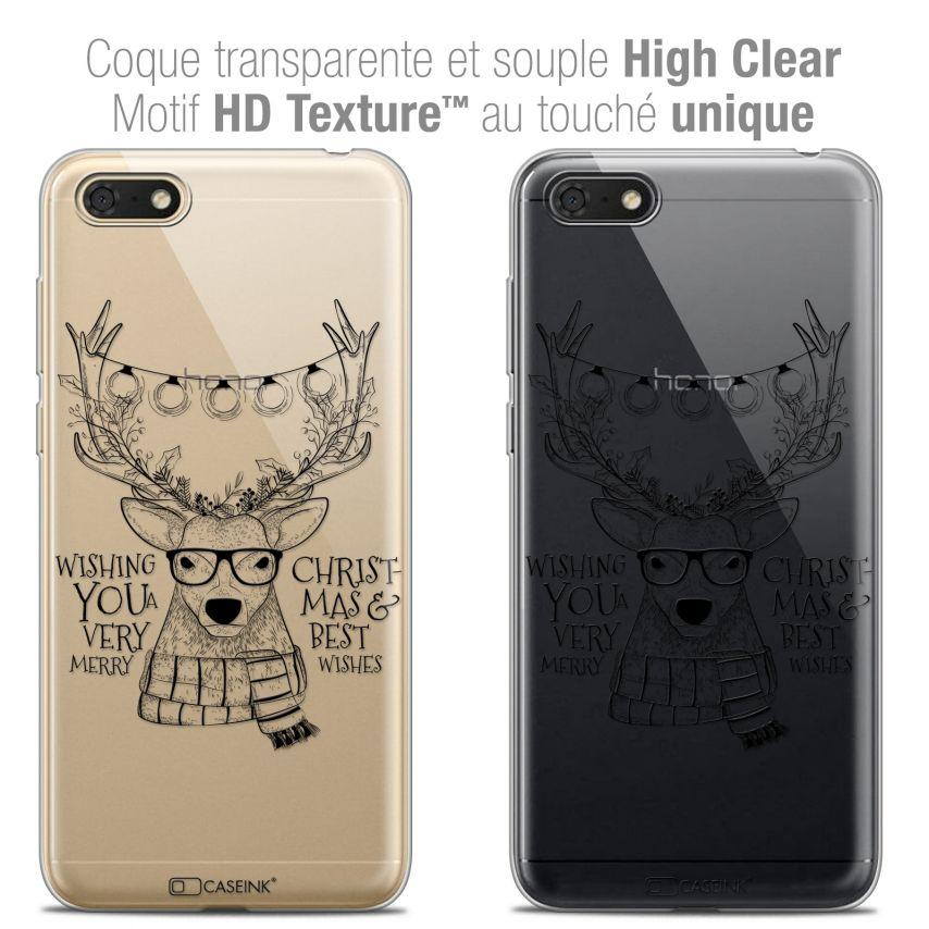 """Coque Crystal Gel Honor 7S (5.45"""") Extra Fine Noël 2017 - Cerf Hipster"""