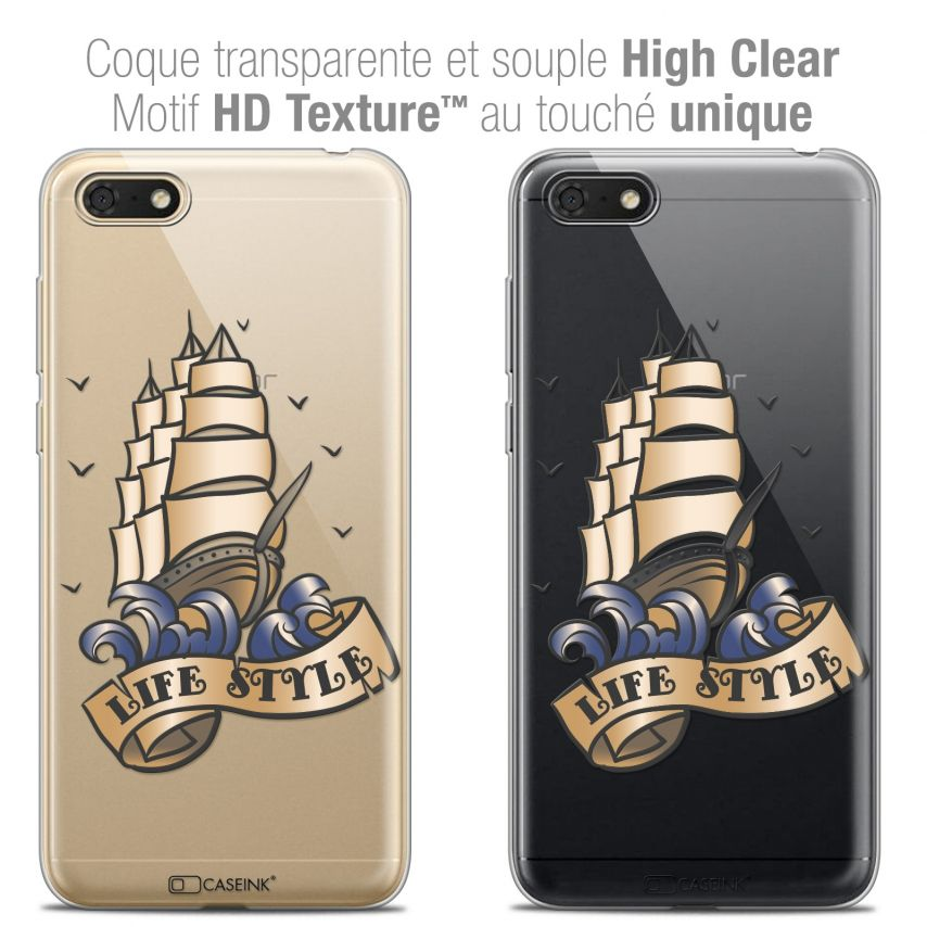 "Carcasa Crystal Gel Extra Fina Honor 7S (5.45"") Tatoo Lover Life Style"