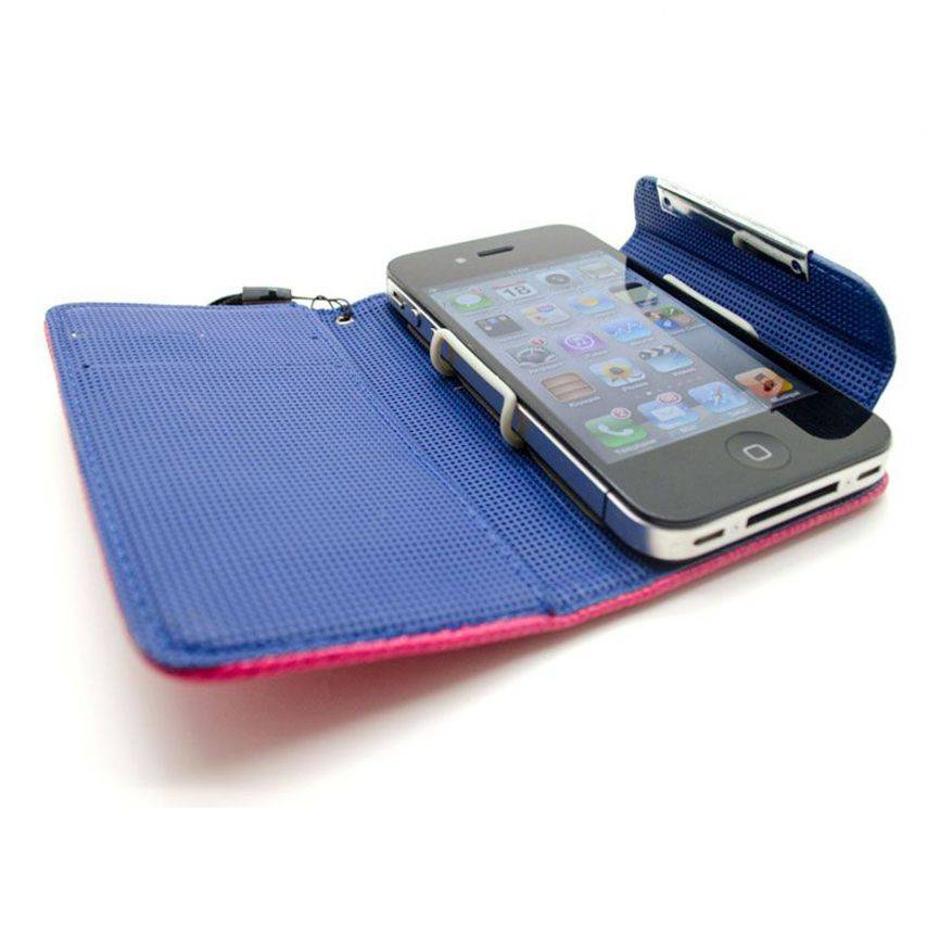 Zoom sur Etui iPhone 4S / 4 Portefeuille Cuir GOLF Rose