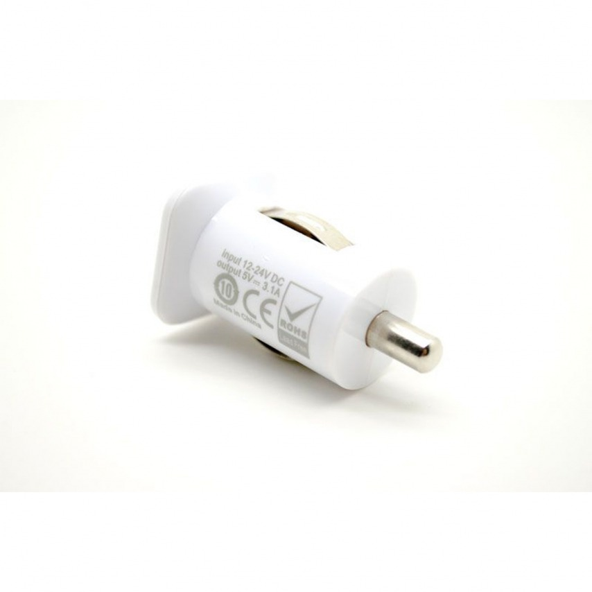 Zoom sur Micro chargeur voiture / Allume cigare Double USB 3100mA iPad iPhone Blanc