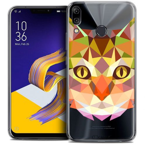 "Coque Crystal Gel Asus Zenfone 5z ZS620KL (6.2"") Extra Fine Polygon Animals - Chat"