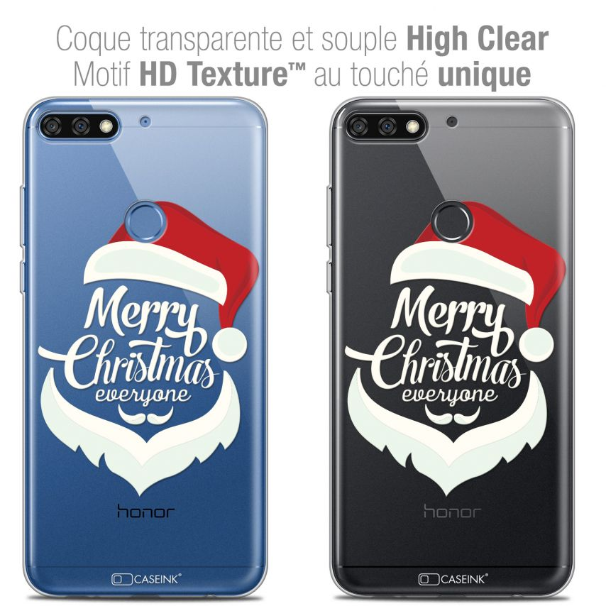 "Coque Crystal Gel Honor 7C (5.99"") Extra Fine Noël 2017 - Merry Everyone"