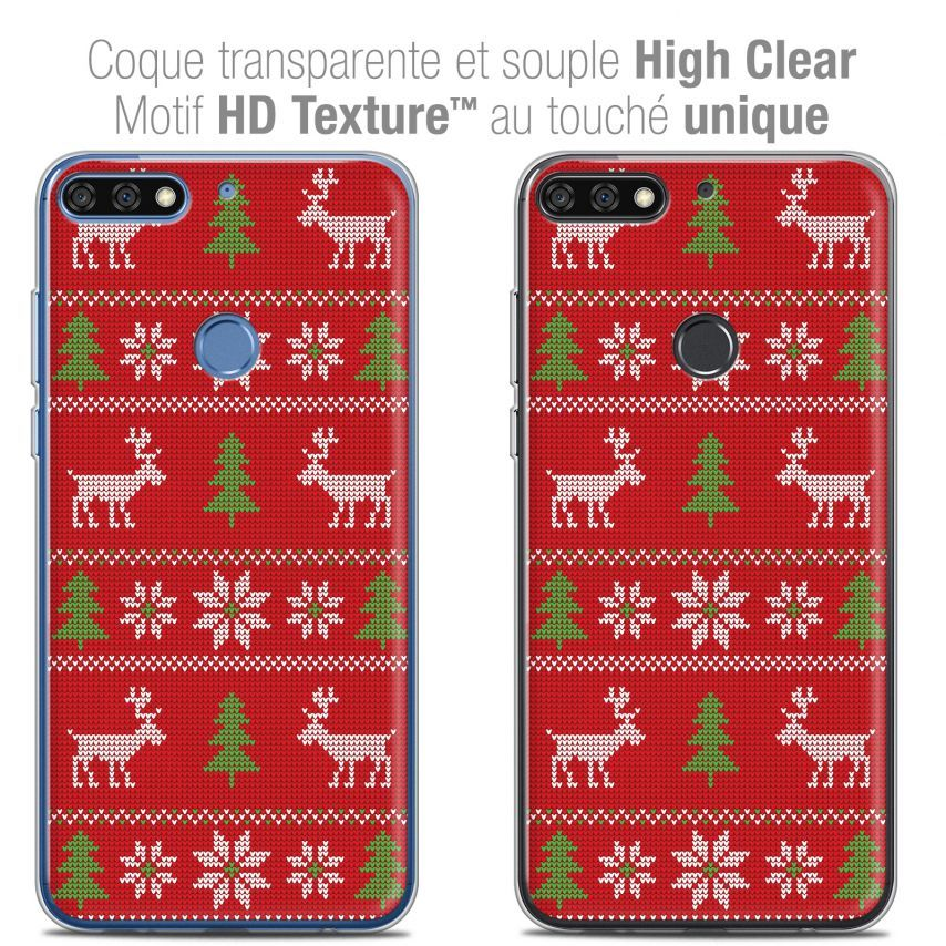 """Extra Slim Crystal Gel Honor 7C (5.99"""") Case Noël 2017 Couture Rouge"""