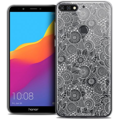 "Coque Crystal Gel Honor 7C (5.99"") Extra Fine Dentelle Florale - Blanc"
