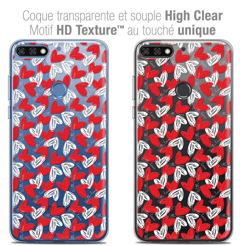 """Extra Slim Crystal Gel Honor 7C (5.99"""") Case Love With Love"""