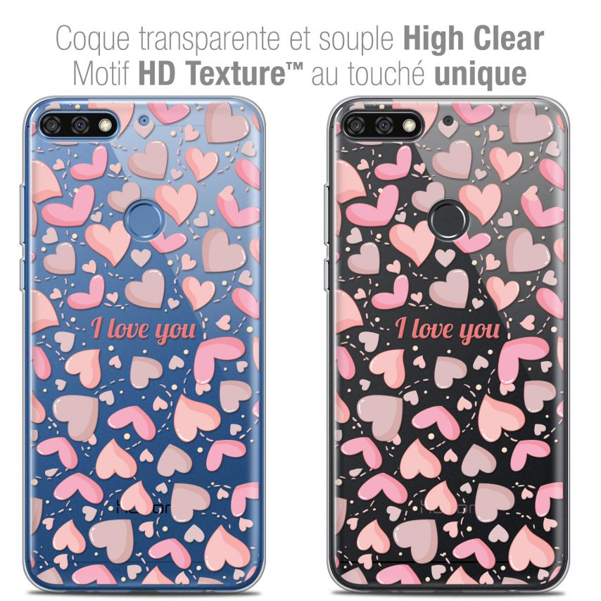 "Extra Slim Crystal Gel Honor 7C (5.99"") Case Love I Love You"