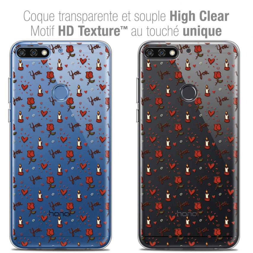 "Coque Crystal Gel Honor 7C (5.99"") Extra Fine Love - Bougies et Roses"