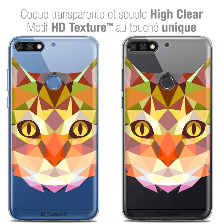 """Coque Crystal Gel Honor 7C (5.99"""") Extra Fine Polygon Animals - Chat"""