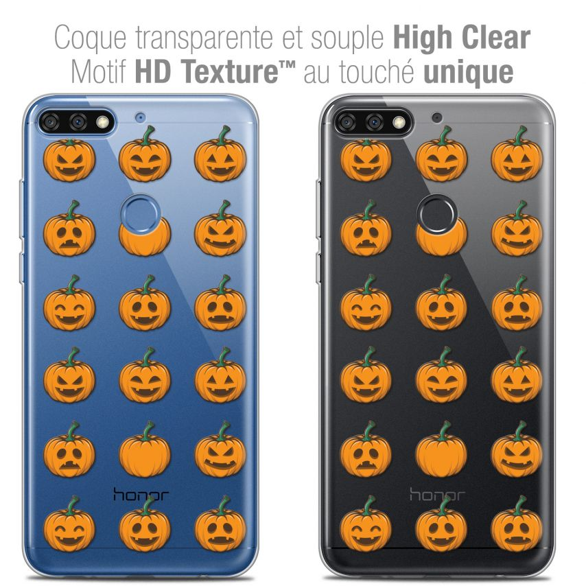 "Carcasa Crystal Gel Extra Fina Honor 7C (5.99"") Halloween Smiley Citrouille"
