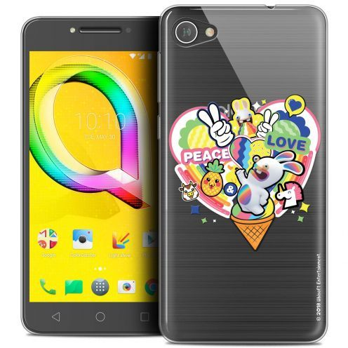 """Crystal Gel Alcatel A5 LED (5.2"""") Case Lapins Crétins™ Peace And Love"""