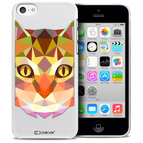 Coque Crystal iPhone 5C Extra Fine Polygon Animals - Chat