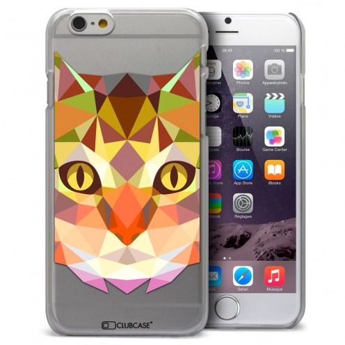 Coque Crystal iPhone 6 Plus Extra Fine Polygon Animals - Chat