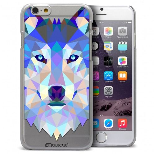 Coque Crystal iPhone 6 Plus Extra Fine Polygon Animals - Loup