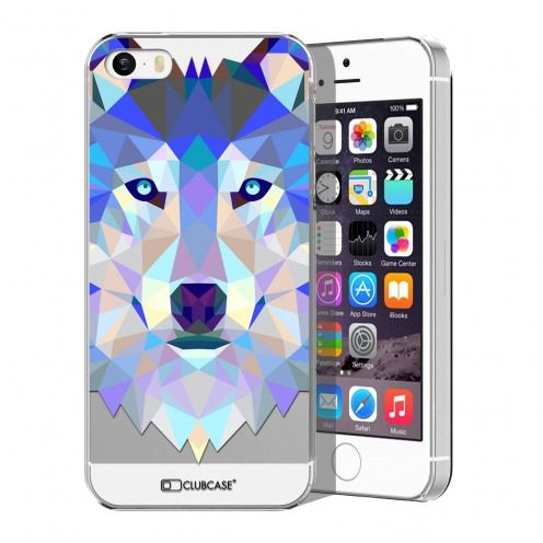 Coque Crystal iPhone 5/5S/SE Extra Fine Polygon Animals - Loup