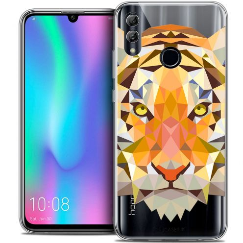 "Coque Crystal Gel Huawei Honor 10 LITE (5.8"") Extra Fine Polygon Animals - Tigre"