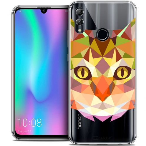 "Coque Crystal Gel Huawei Honor 10 LITE (5.8"") Extra Fine Polygon Animals - Chat"
