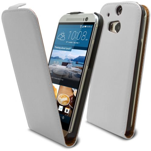 Coque Flip Vertical HTC One M8 Cuirette Eco Blanc