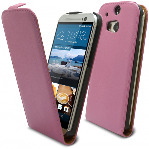Coque Flip Vertical HTC One M8 Cuirette Eco Rose