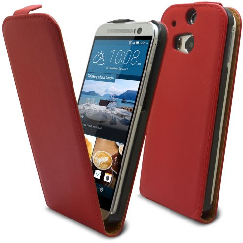 Coque Flip Vertical HTC One M8 Cuirette Eco Rouge