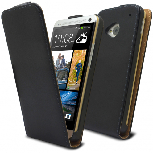 Coque Flip Vertical HTC One M7 Cuirette Eco Noir