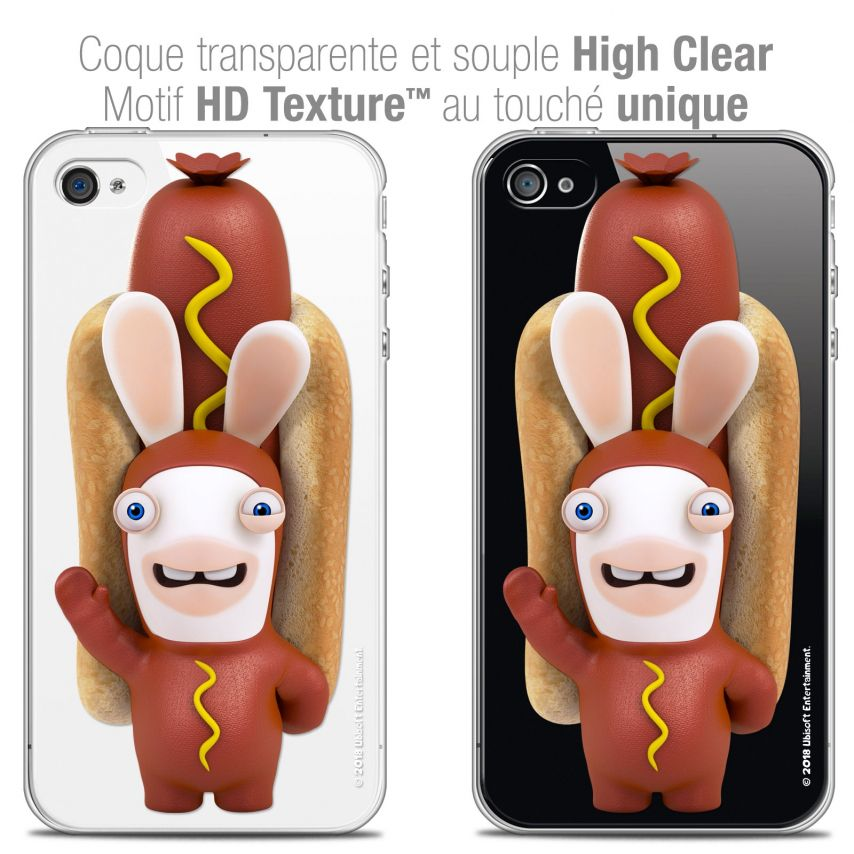 Coque iPhone 4/4s Extra Fine Lapins Crétins™ - Hot Dog Crétin