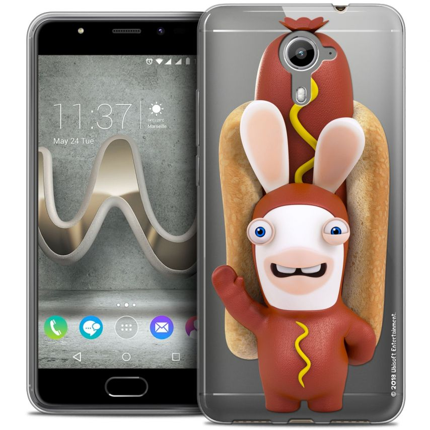 Coque Gel Wiko U Feel PRIME Extra Fine Lapins Crétins™ - Hot Dog Crétin