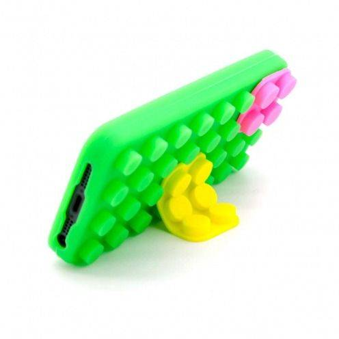 Coque Blocs Design Verte, jaune et rose iPhone 5