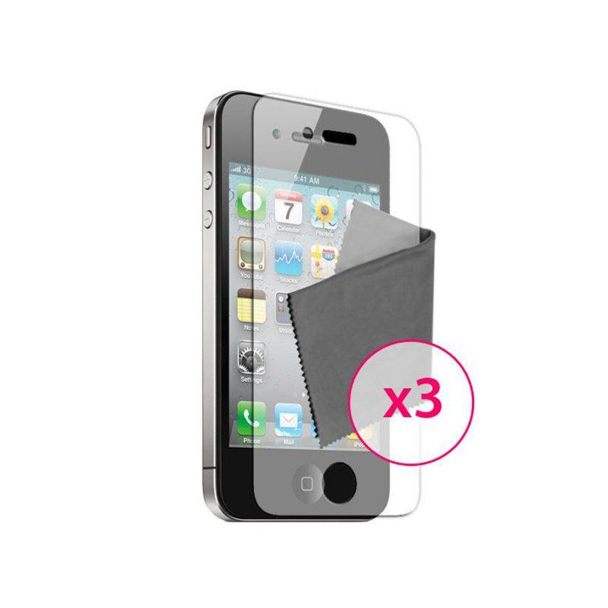 Zoom sur Films de protection Anti-Reflet iPhone 4 / 4S Clubcase ® Lot de 3