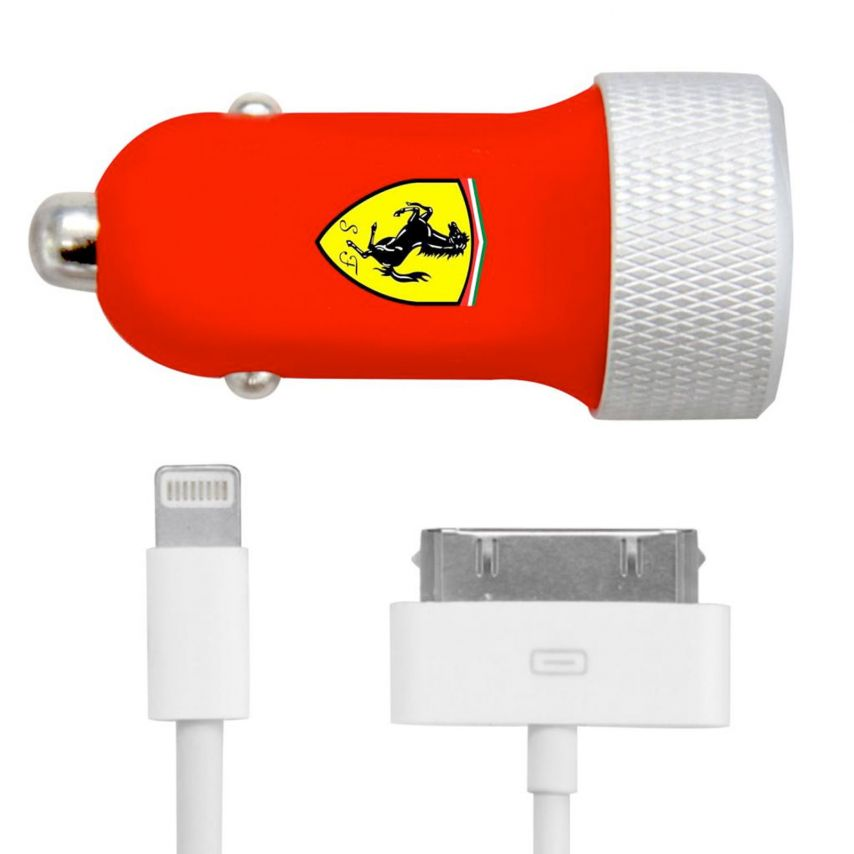 Chargeur Voiture Allume Cigare Ferrari® 2xUSB 2.1A + iPhone 30pin et 8 pins