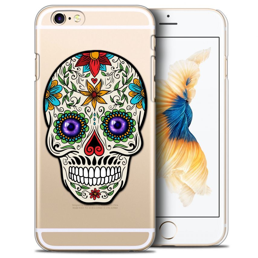 Coque Crystal iPhone 6/6s Plus (5.5) Extra Fine Skull - Maria's Flower