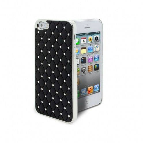 Coque iPhone 5 Luxury Satin & Diamant Noire