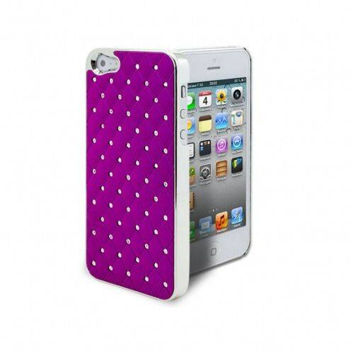Coque iPhone 5 Luxury Satin & Diamant Violette