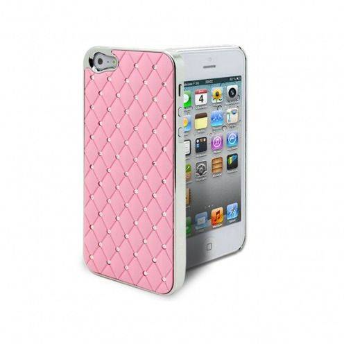 Coque iPhone 5 Luxury Satin & Diamant Rose