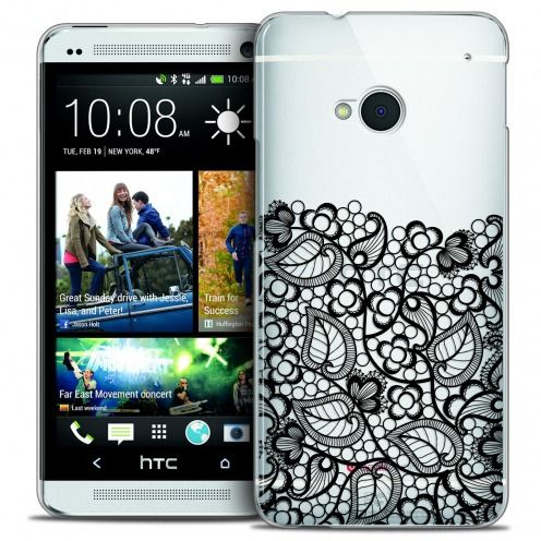 Coque Crystal HTC One (M7) Extra Fine Spring - Bas dentelle Noir