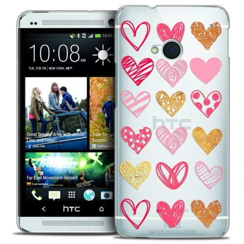 Extra Slim Crystal HTC One (M7) Case Sweetie Doodling Hearts