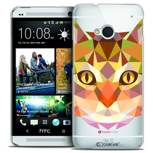 Carcasa Crystal Extra Fina HTC One (M7) Polygon Animals Gato