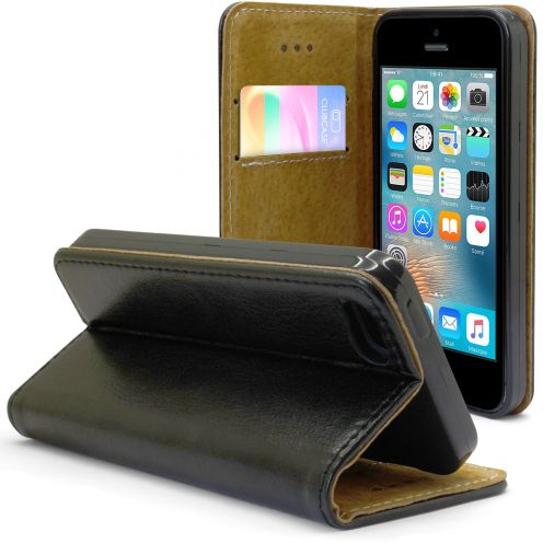 Etui Italia Folio Stand Apple iPhone 5/5S/SE Cuir Véritable Bovin Noir