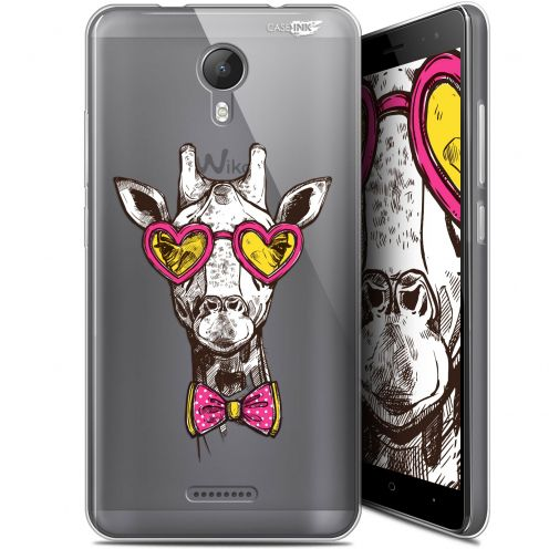 "Extra Slim Gel Wiko Jerry 2 (5.0"") Case Design Hipster Giraffe"