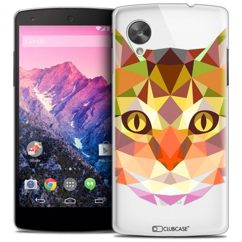Coque Crystal Nexus 5 Extra Fine Polygon Animals - Chat
