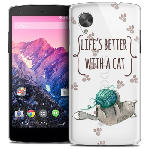 Coque Crystal Nexus 5 Extra Fine Quote - Life's Better With a Cat