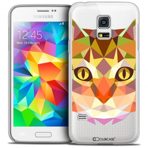 Coque Crystal Galaxy S5 Extra Fine Polygon Animals - Chat