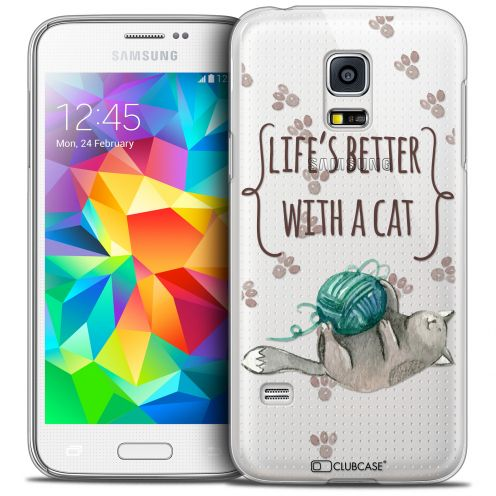 Coque Crystal Galaxy S5 Extra Fine Quote - Life's Better With a Cat